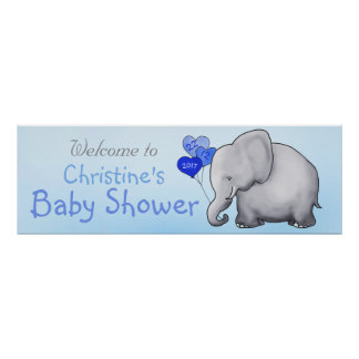 Blue Heart Balloons Elephant Boy Baby Shower Poster