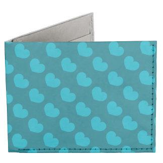 Blue Heart Candy Design Change Background Color Billfold Wallet