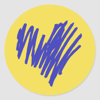 Blue Heart Classic Round Sticker