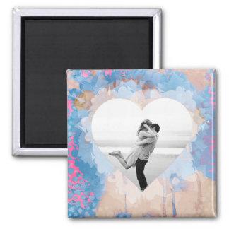Blue Heart/Custom Photo Square Magnet