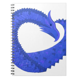 Blue heart dragon on white notebook