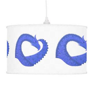 Blue heart dragon on white pendant lamp