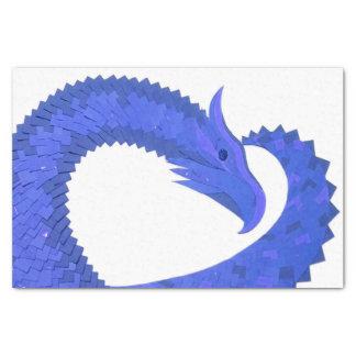 Blue heart dragon on white tissue paper