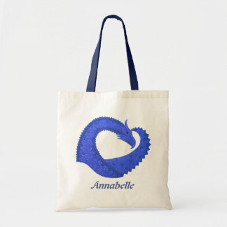 Blue heart dragon on white tote bag