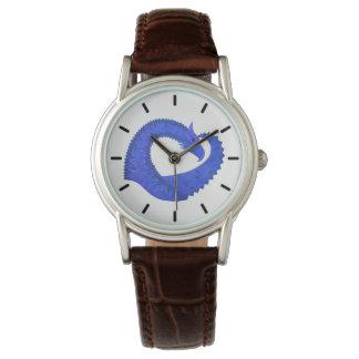 Blue heart dragon on white watch