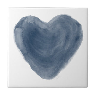 Blue Heart Edition Watercolor Ceramic Tile