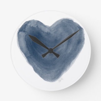 Blue Heart Edition Watercolor Clock