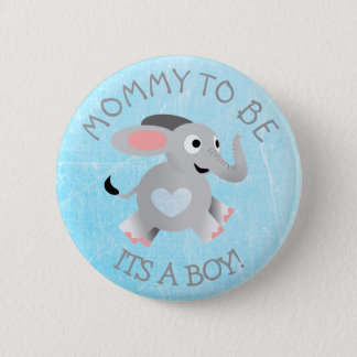 Blue Heart Elephant Its a Boy Baby Shower Pin
