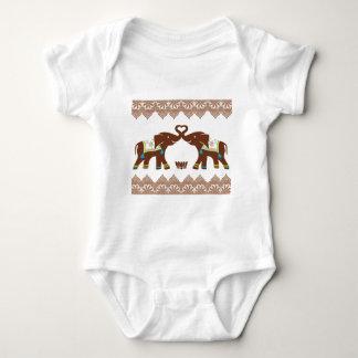 Blue Heart Elephants Card Baby Bodysuit