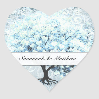 Blue Heart Leaf Tree Wedding Seal