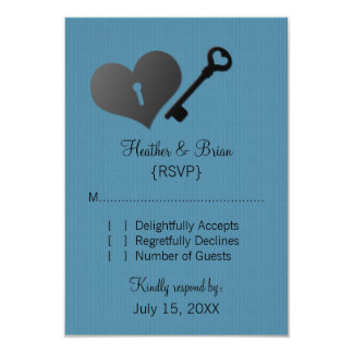 "Blue Heart Lock and Key Response Card 3.5"" X 5"" Invitation Card"