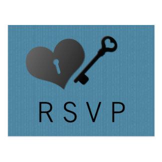 Blue Heart Lock and Key Response Card Postcard