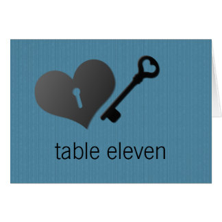 Blue Heart Lock and Key Table Card