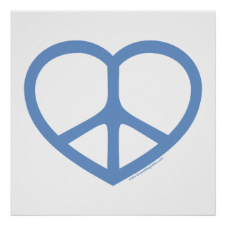 Blue Heart of Love, Peace Sign Poster