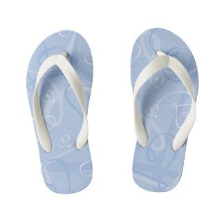 Blue heart pattern kid's flip flops