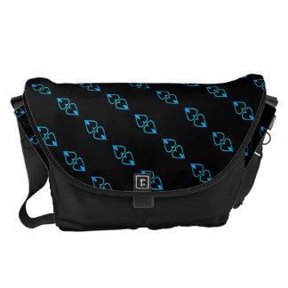 blue heart pattern messenger bag