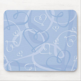 Blue heart pattern mouse pad