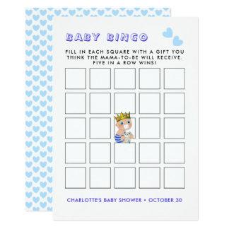 Blue Heart Prince Baby Boy Shower Party Bingo Game Card