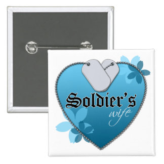 Blue Heart Shaped Dog Tags - Soldier's Wife 2 Inch Square Button