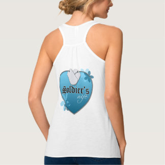 Blue Heart Shaped Dog Tags - Soldier's Wife Tank Top