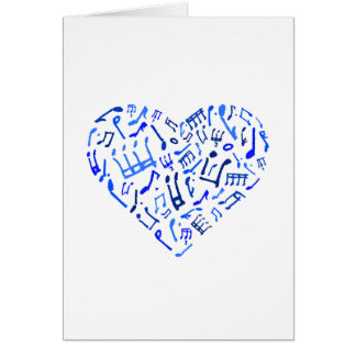 Blue Heart Shaped Music Notes Greeting Card