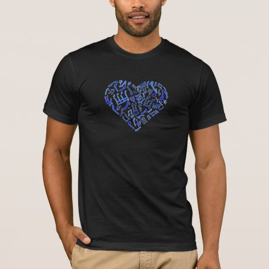 Blue Heart Shaped Music Notes T-shirt