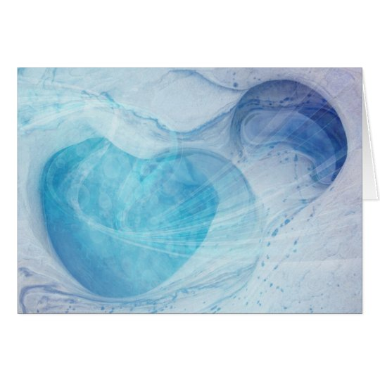 Blue Heart Swirls Blank Greeting Card