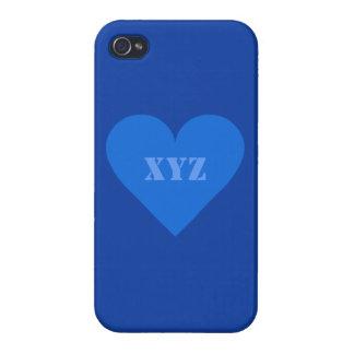 Blue Heart Valentine custom cases iPhone 4 Case