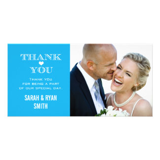 Blue Heart Wedding Photo Thank You Cards Photo Card Template