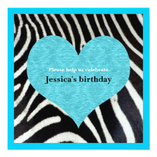 Blue Heart with Zebra Print Party Invitation