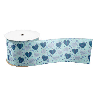 "Blue Hearts 3"" Wide Satin Ribbon, 2 Yard Spool Satin Ribbon"