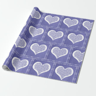 Blue Hearts and Burlap Wrapping Paper