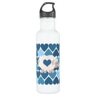 Blue Hearts and Cute Lamb 710 Ml Water Bottle