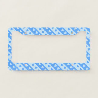 Blue Hearts and Stripes Pattern License Plate Frame