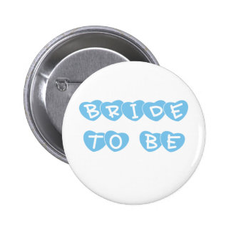 Blue Hearts Bride to Be Buttons