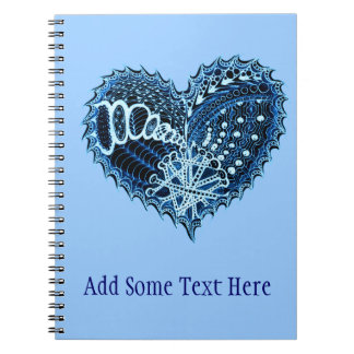 Blue Hearts on Fire Doodle Notebook