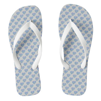 Blue hearts on pebble grey flip flops