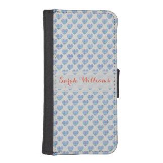 Blue hearts on pebble grey iPhone SE/5/5s wallet case
