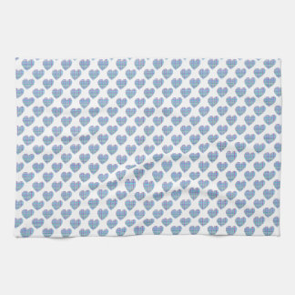 Blue hearts on white kitchen towel