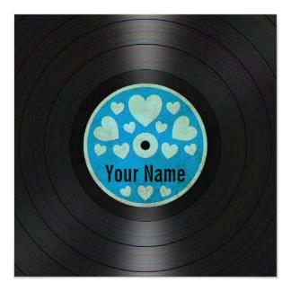 """Blue Hearts Personalized Vinyl Record Album 5.25"""" Square Invitation Card"""