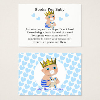 Blue Hearts Prince Baby Boy Shower Book Request Business Card