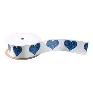 Blue Hearts Satin Ribbon