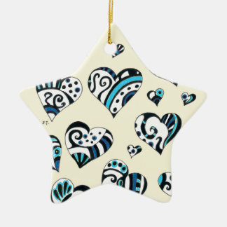 Blue Hearts Scribble Inky Funky Yellow Ceramic Ornament