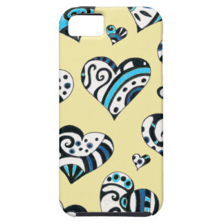 Blue Hearts Scribble Inky Funky Yellow iPhone 5 Cases