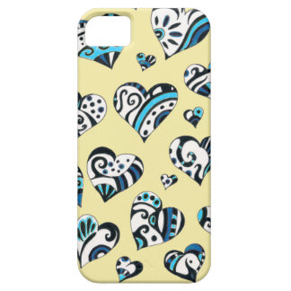 Blue Hearts Scribble Inky Funky Yellow iPhone 5 Cover