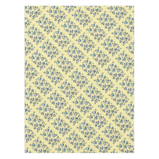 Blue Hearts Scribble Inky Funky Yellow Tablecloth