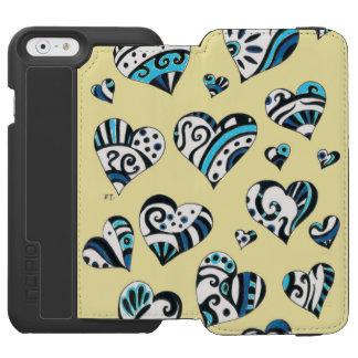 Blue Hearts Scribble  Yellow Incipio Watson™ iPhone 6 Wallet Case