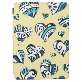 Blue Hearts Scribble  Yellow iPad Air Cover