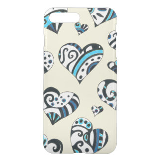 Blue Hearts Scribble  Yellow iPhone 8 Plus/7 Plus Case