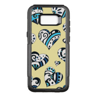 Blue Hearts Scribble  Yellow OtterBox Commuter Samsung Galaxy S8+ Case